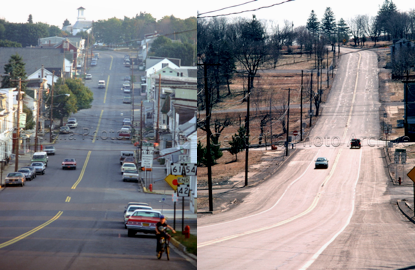 These before after photos present the same main avenue of Centralia, been reduced to only a handful of homes, a cemetery, cracked roads and a few plumes of steam billowing out of the ground. (Perkel)