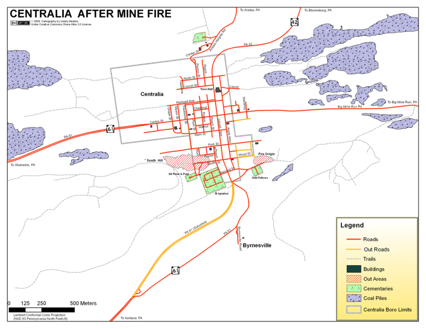 These before and after maps of Centralia show where the fire spread and its ultimate impact on the community.