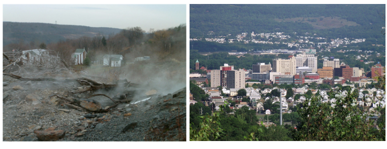 Had Centralia (left) been given the proper attention and informed of important political powers like Laurel Run, now the township of Wilkes-Barre (right), the situation may have ended differently.