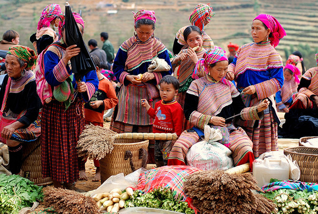 Local ethnic peoples in the Bac Ha District at the Can Cau Market