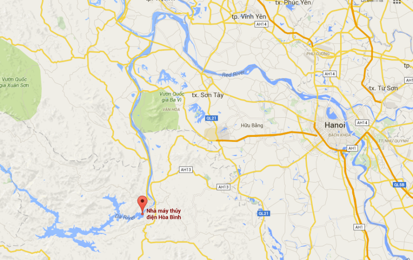 Hoa Binh Dam in relation to Hanoi