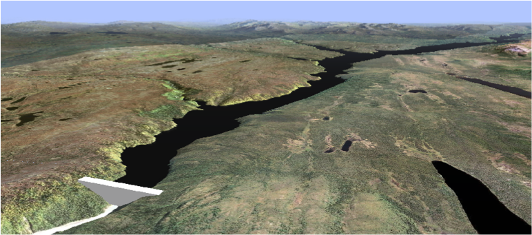 GIS Model of the proposed Susitna Dam (AEA)