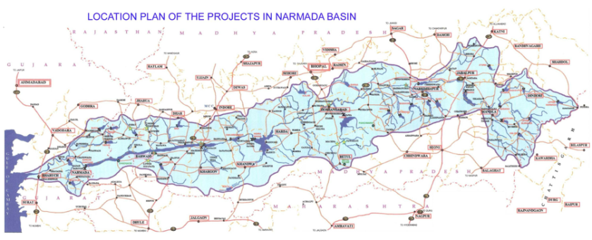 """Layout of Water Resources Development Projects in The Narmada Basin in Gujarat & Madhya Pradesh"" (Nvvchar 1995)"