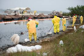 clean up of oil spill